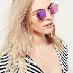Accessories - Far Out Round SUNGLASSES Orchid Gold Purple Mirror